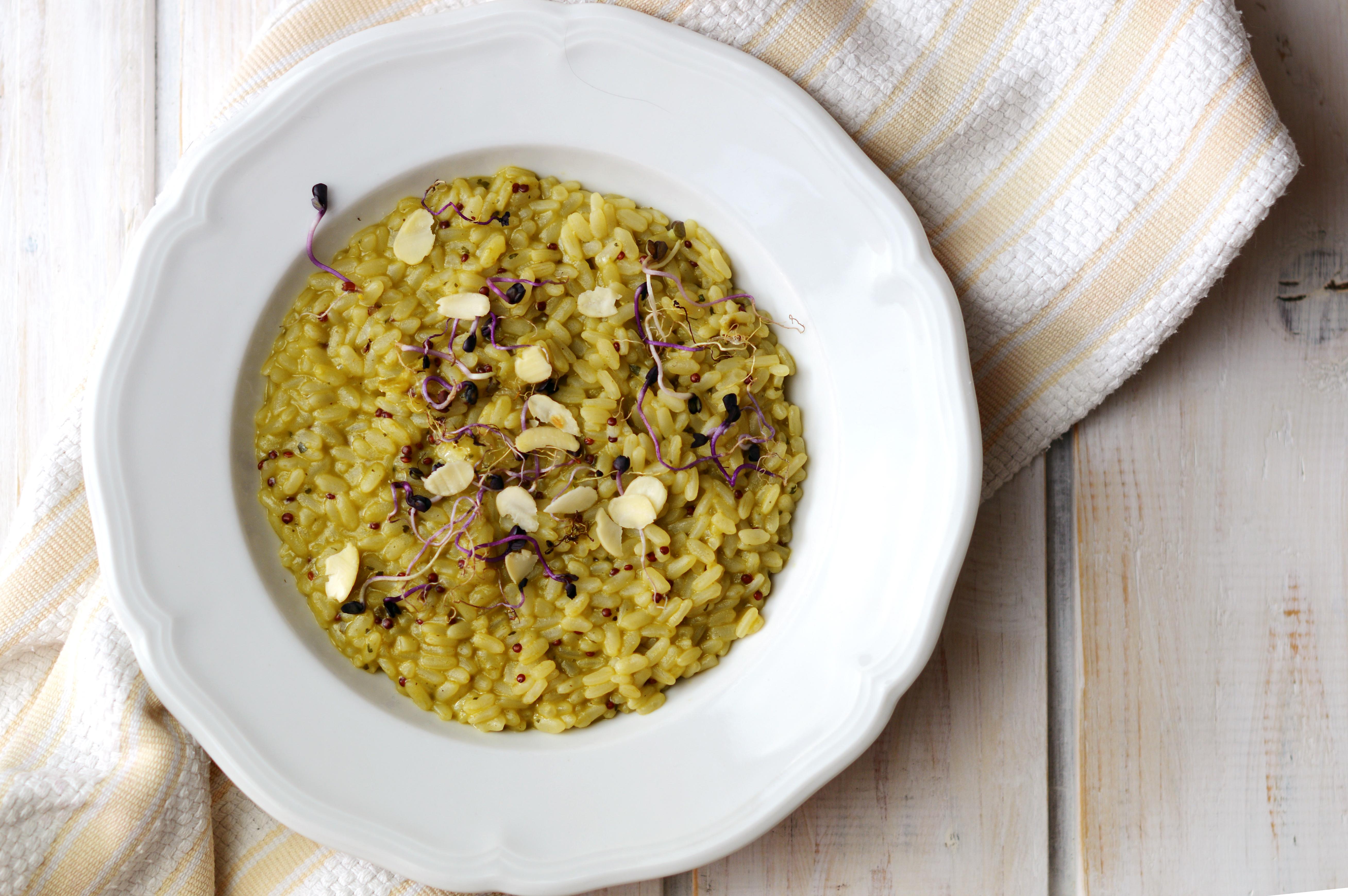 Risotto di zucchine, spinaci e quinoa rosa