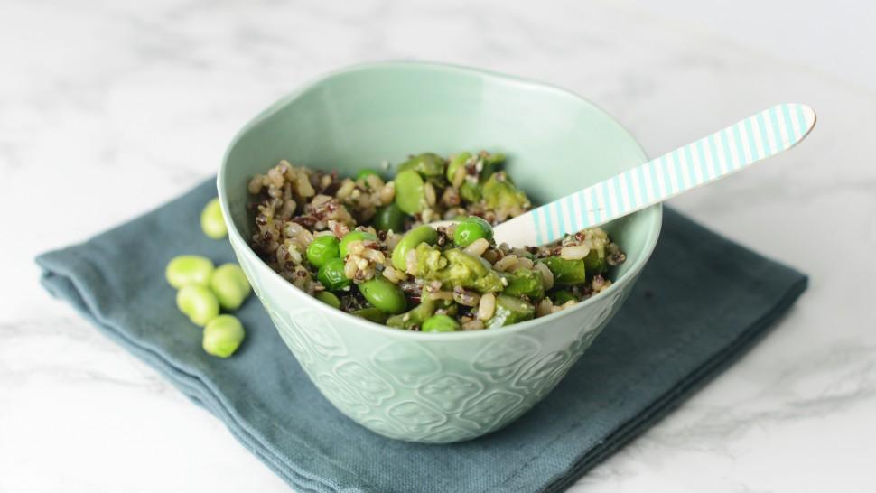 Riso e quinoa con verdure di stagione